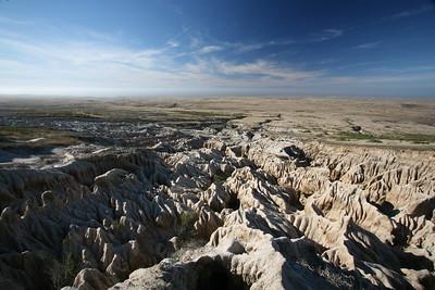 Badlands terrain on western end of island