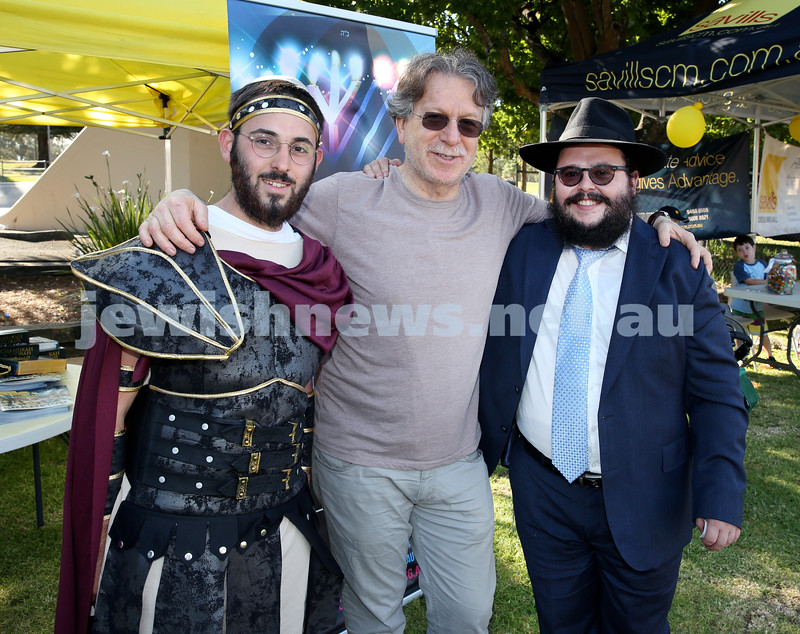 Chanukah on the Green combined North Shore shules Chanukah Party. (From Left) Levi Setton, David Zwi, Chanoch Sufrin. Pic Noel Kessel