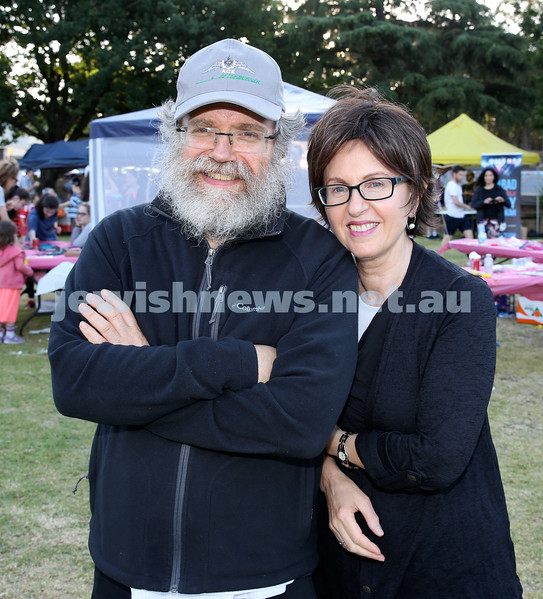 Chanukah on the Green combined North Shore shules Chanukah Party. Peter (left) & Tzivia Israel. Pic Noel Kessel.