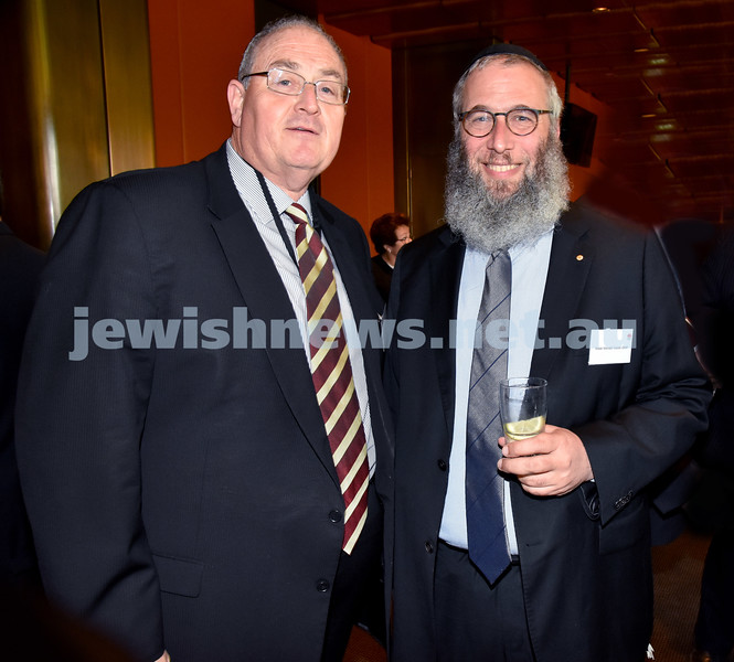 State Parliament Chanukah Party. Walt Secord (left), Rabbi Mendel Kastel. Pic Noel Kessel