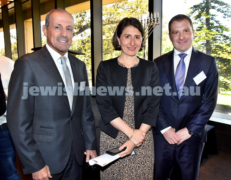 State Parliament Chanukah Party. From left: Vic Alhadeff, NSW Premier Gladys Berejiklian MP, Jeremy Spinak. Pic Noel Kessel