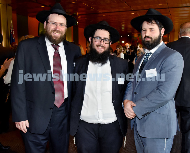 State Parliament Chanukah Party. From left: Rabbi Eli Feldman, Rev Michoel Brofman, Rabbi Elimelech Levy. Pic Noel Kessel