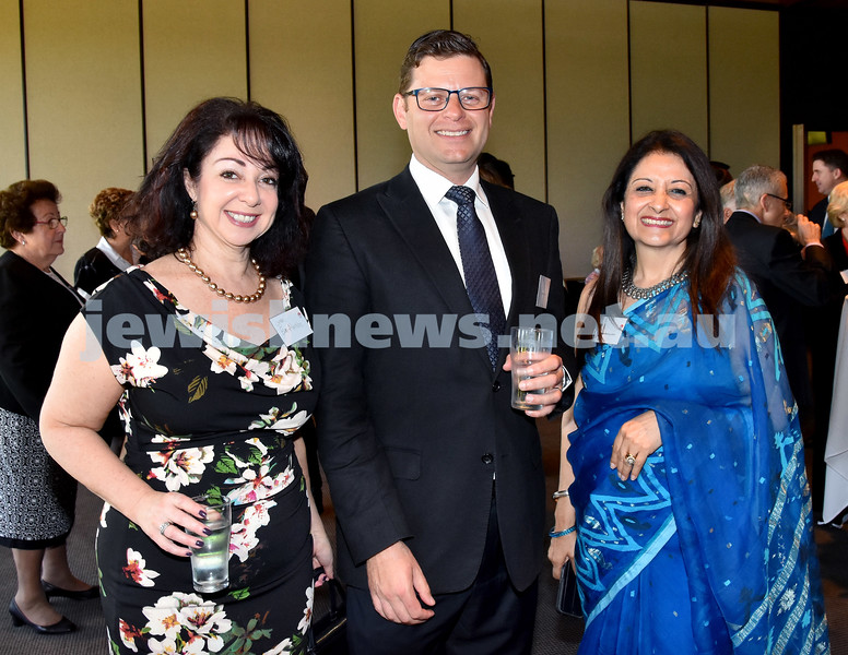 State Parliament Chanukah Party. From left: Lynda Ben Menashe, Lesli Berger, Mala Mehta. Pic Noel Kessel
