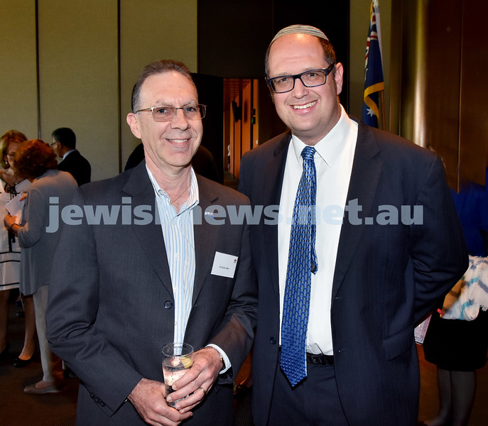 State Parliament Chanukah Party. David Adler (left), Rabbi Paul Lewin. Pic Noel Kessel