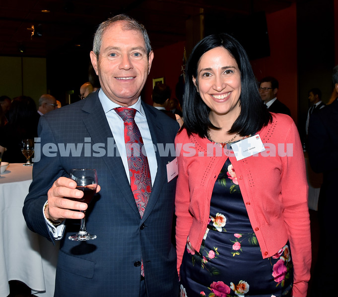 State Parliament Chanukah Party. Roland Nagel (left), Judith Levitan. Pic Noel Kessel