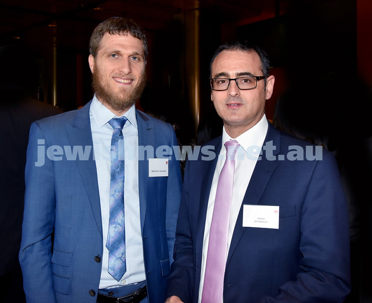 State Parliament Chanukah Party. Rabbi Chaim Koncepolski (left) Zvi Teichtahl. Pic Noel Kessel