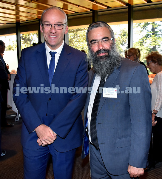 State Parliament Chanukah Party. NSW State Opposition Leader Luke Foley (left), Rabbi Dovid Slavin. Pic Noel Kessel