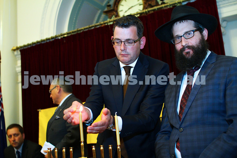 16-12-14. Chanukah at Queens Hall, Parliament House. Victorian Premier Daniel Andrews with Rabbi Chaim Herzog from Chabad CBD. Photo: Peter Haskin