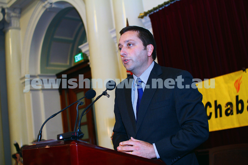 16-12-14. Chanukah at Queens Hall, Parliament House. Opposition leader Matthew Guy. Photo: Peter Haskin