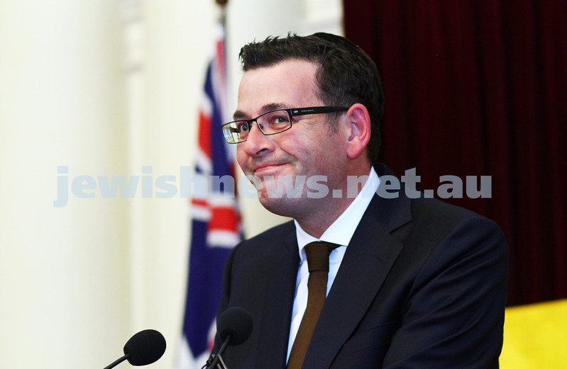 16-12-14. Chanukah at Queens Hall, Parliament House. Daniel Andrews. Photo: Peter Haskin