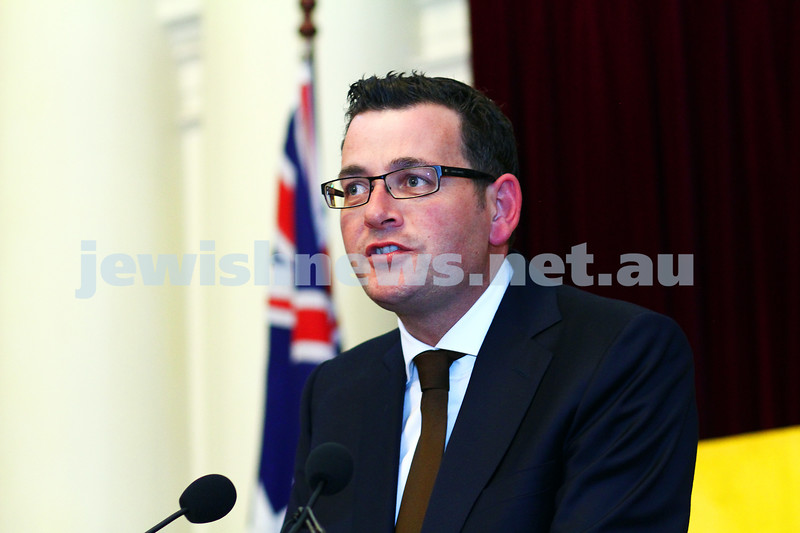 16-12-14. Chanukah at Queens Hall, Parliament House. Victorian Premier Daniel Andrews . Photo: Peter Haskin