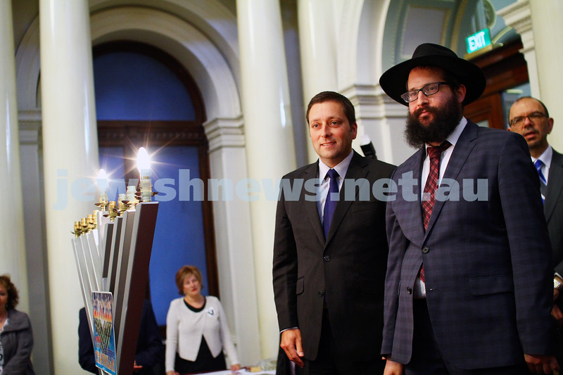 16-12-14. Chanukah at Queens Hall, Parliament House. Victorian Opposition leader, Matthew Guy with Rabbi Chaim Herzog from Chabad CBD. Photo: Peter Haskin