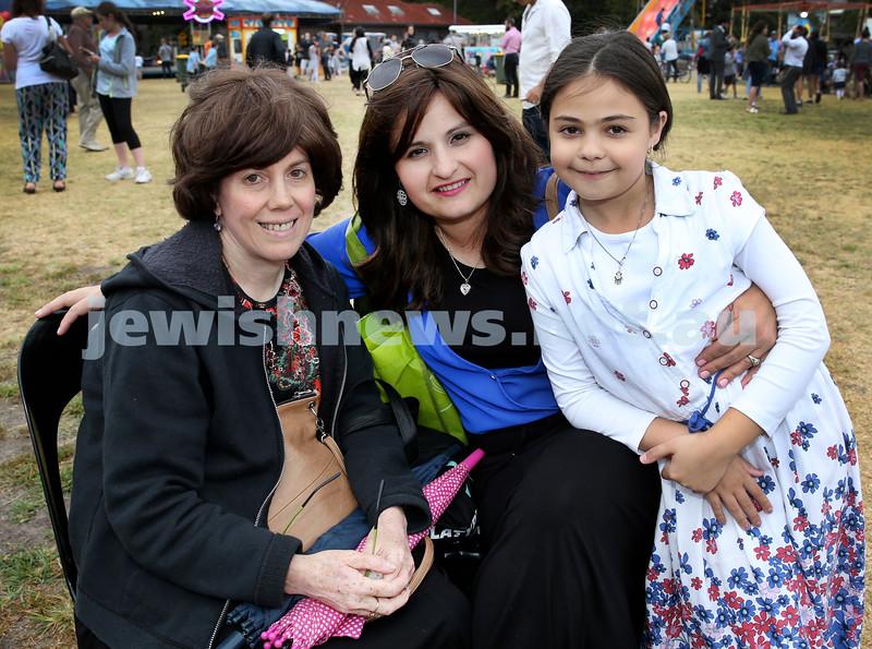 Chanukah at The Bay. (from left) Rochel Blasenstein, Dalia & Racheli Chriqui. Pic Noel Kessel.