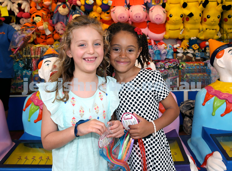 Chanukah at The Bay. Daniella Shnier (left) & Zola Jennings. Pic Noel Kessel.