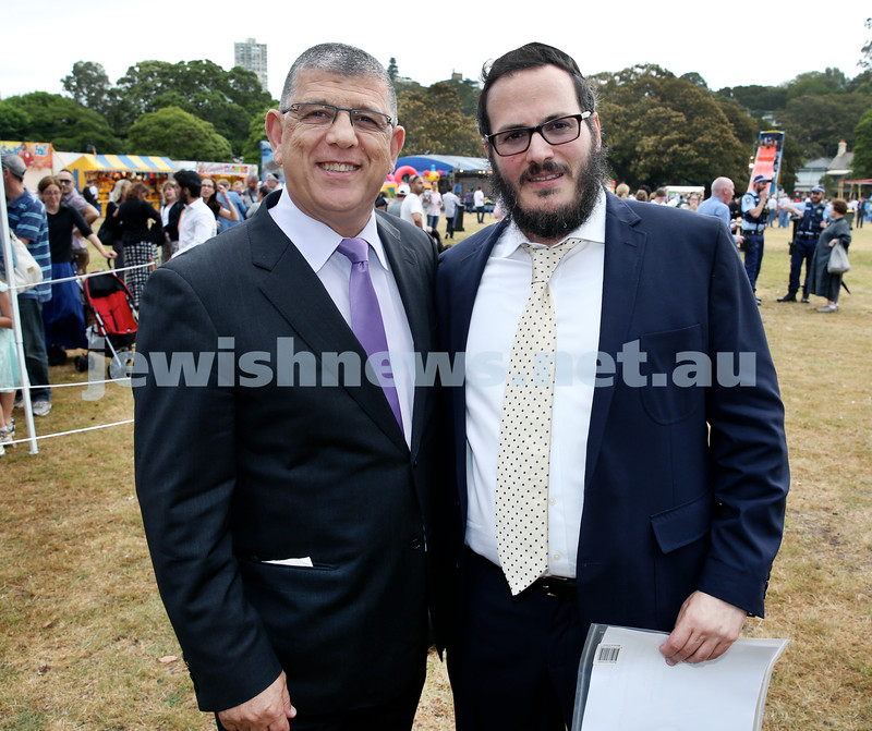 Chanukah at The Bay. John Ajaka MP & Rabbi Yanky Berger. Pic Noel Kessel.