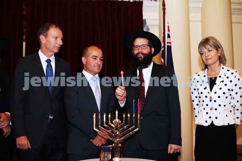 7-12-15. Chanukah at Victorian Parliament House. From left: David Southwick,  James Merlino, Rabbi Chaim Herzog,  Myriam Boisbouvier-Wylie, honorary Consul general of France in Melbourne. Photo: Peter Haskin