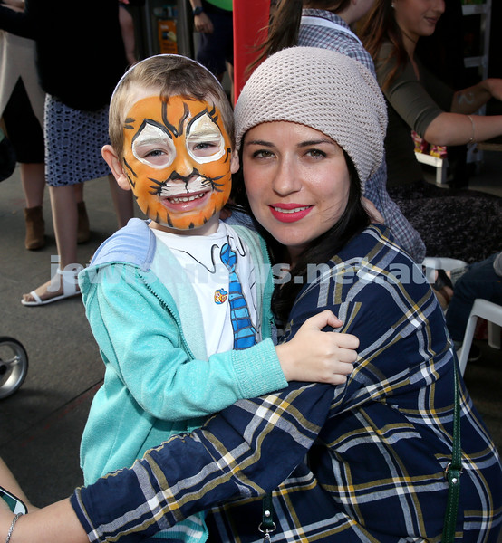 Chanukah in Martin Place. Michi Abrahams (left) with his mum Sorella. Pic Noel Kessel.