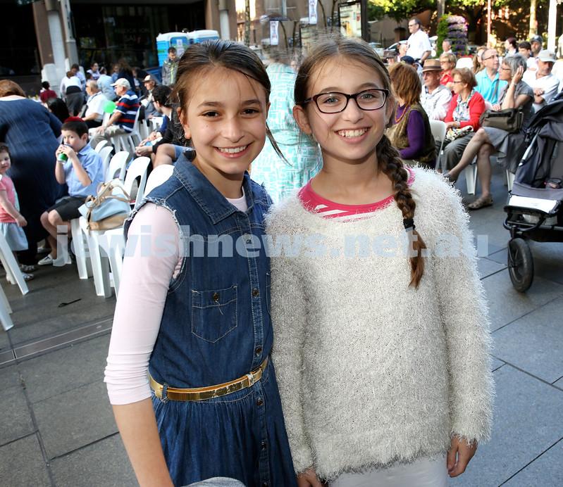 Chanukah in Martin Place. Rivkah Niasoff (left) & Batya Moss. Pic Noel Kessel.