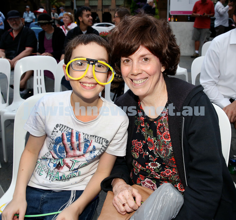 Chanukah in Martin Place. Mendy Blasenstein with his mum Rochel. Pic Noel Kessel.