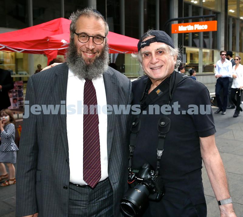 Chanukah in Martin Place. Rabbi Mendel Kastel & Henry Benjamin. Pic Noel Kessel.