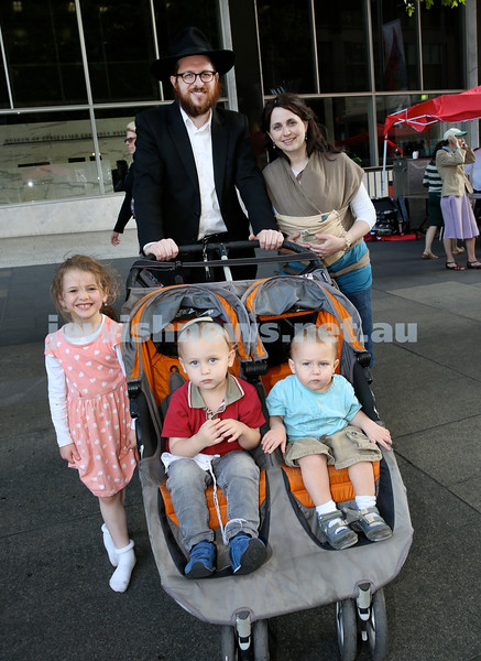 Chanukah in Martin Place. Rabbi Aron Moss with his wife Neachama Dina, & Children (from left) Golda, Mottel, Meir. Pic Noel Kessel.