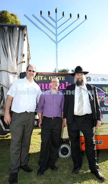Combined North Shore Shules Chanukah Party held at St.Ives Village Green. Rabbi Paul Lewin, Rabbi Gad Crebbs, Rabbi Nochum Schapiro.