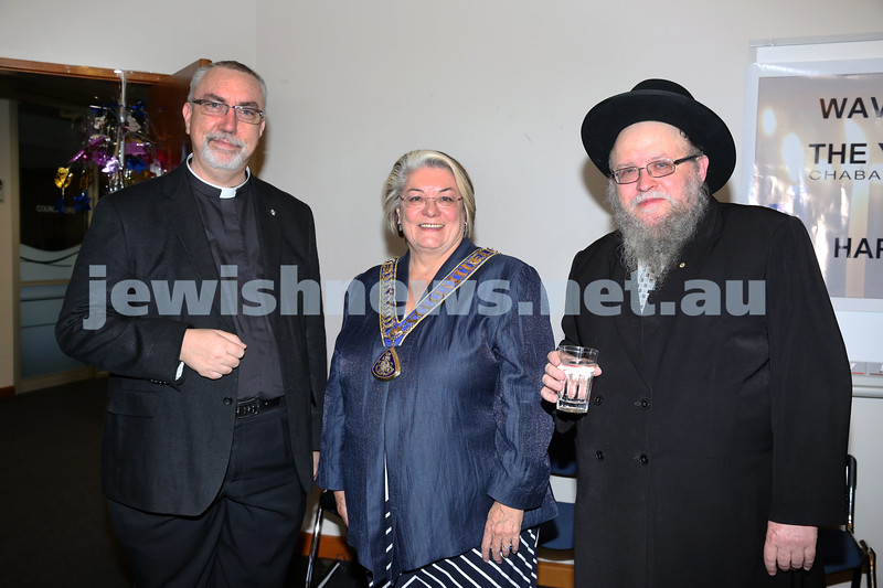 Waverley Council Chanukah Party. Fr Don Richardson, Waverley lord Mayor Sally Betts, Rabbi Pinchus Feldman.
