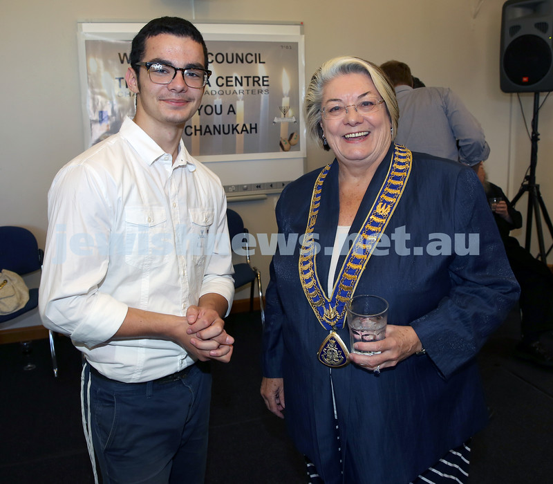 Waverley Council Chanukah Party. Mendel Slavin with Waverley lord Mayor Sally Betts.
