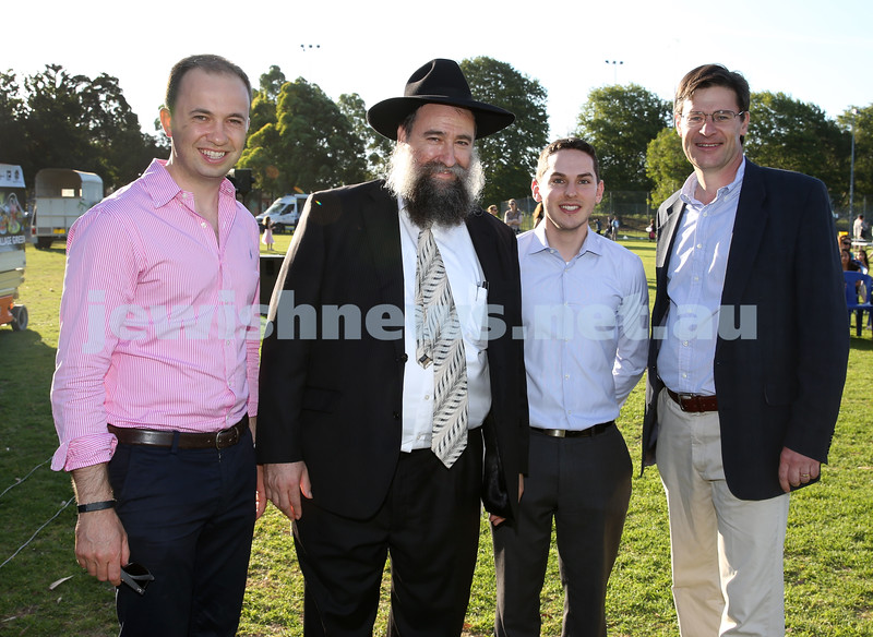 Combined North Shore Shules Chanukah Party held at St.Ives Village Green. Matt Kean member for Hornsby, Rabbi Nochum Schapiro, Cr David Ossip, Federal MP for Davidson Jonathan O'Dea.