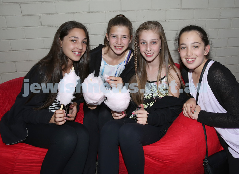 North Shore Synagogue's Youth Chanukah Party. Becky Gurevich, Tayla Lakofski, Kayla Fingleson, Jemma Leber.