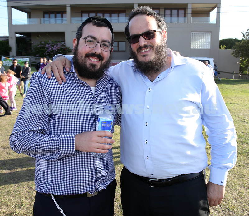 Dover Heights Shule Chanukah Party at Dudley Page Reserve. Rabbi Eli Schlanger and Rabbi Yanky Berger.