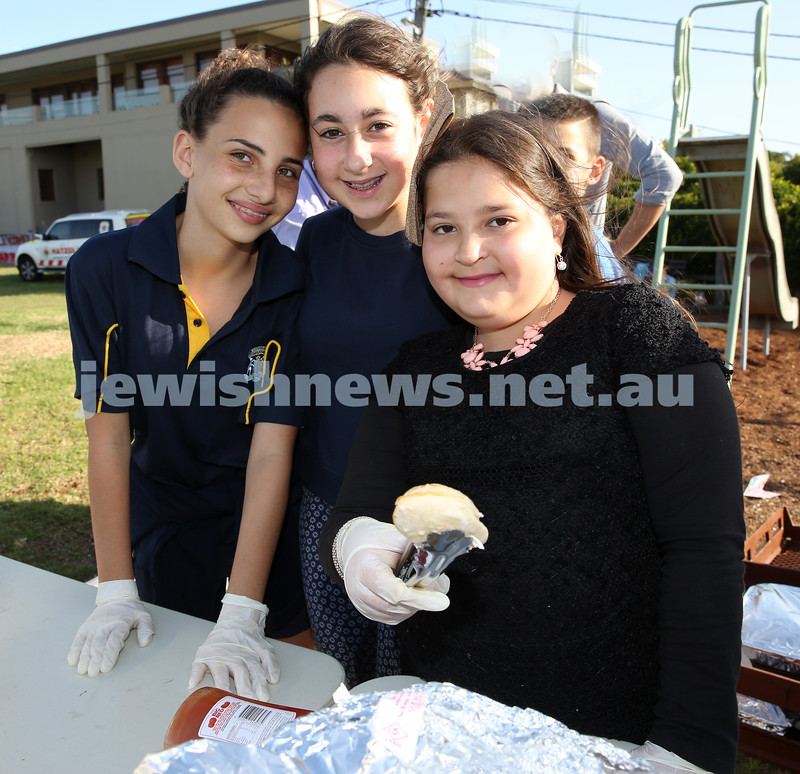 Dover Heights Shule Chanukah Party at Dudley Page Reserve. Ashlee Corrick, Jemma Gilbert-Kaplan, Chana Litzman.