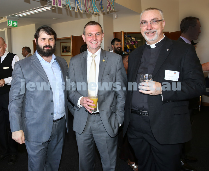 Waverley Council Chanukah Party. Rabbi Elimelech Levy, Member for Coogee Bruce Notley-Smith, Fr. Don Richardson.