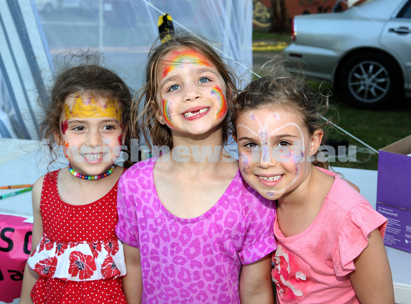 Combined North Shore Shules Chanukah Party held at St.Ives Village Green. Jasmine Suslik, Sharli Lewin, Romi Rogow.
