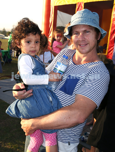 Dover Heights Shule Chanukah Party at Dudley Page Reserve. Simon Tzipris with his daughter Sabrina.