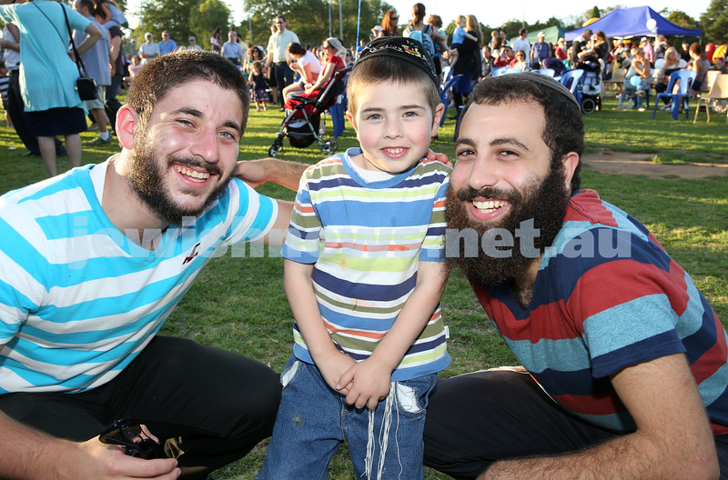 Combined North Shore Shules Chanukah Party held at St.Ives Village Green. Mendy Lebowitz, Tuvia Kastel, Tzviki Chein.
