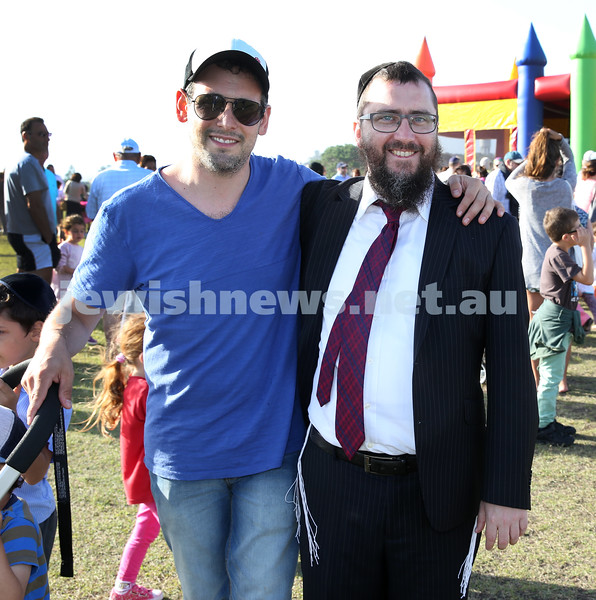 Dover Heights Shule Chanukah Party at Dudley Page Reserve. Baruch Kluwgant and Rabbi Motti Feldman.