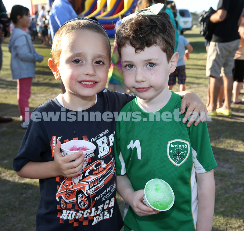 Dover Heights Shule Chanukah Party at Dudley Page Reserve. Avishai Kessel and Seth Davis.