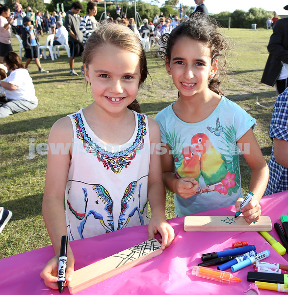 Dover Heights Shule Chanukah Party at Dudley Page Reserve. Maya Foreman and Shira Gottlieb.
