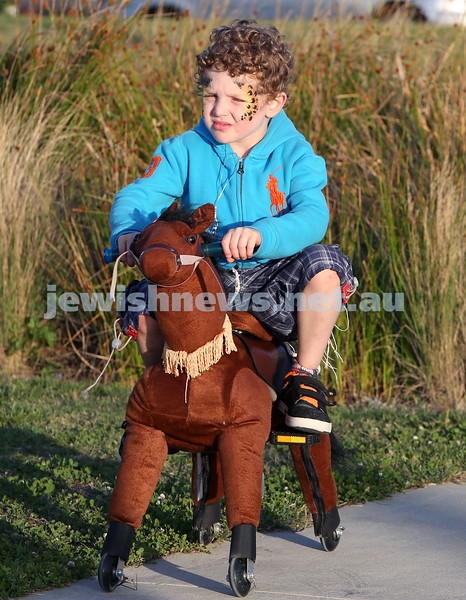 Dover Heights Shule Chanukah Party at Dudley Page Reserve. Jon Jon Suntup riding a pony.