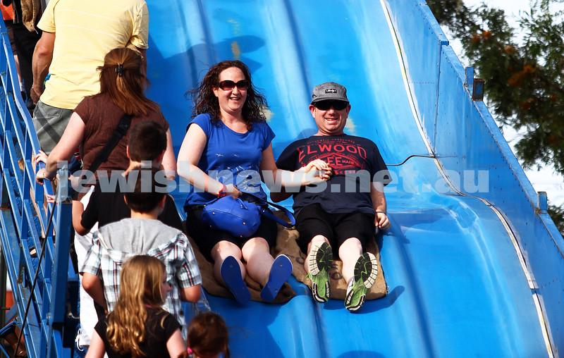 1-12-13.  Chanukah in the Park  2013 at Melbourne's Caulfield Park. Giant slide. Photo: Peter Haskin