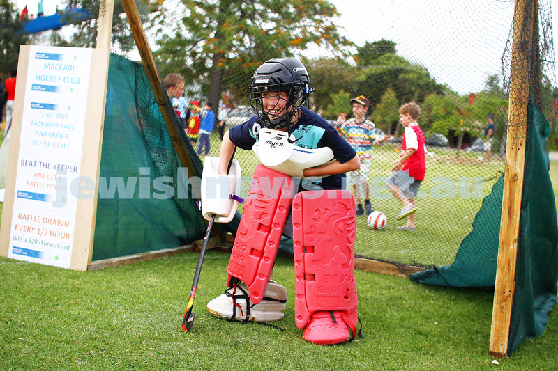 1-12-13.  Chanukah in the Park  2013 at Melbourne's Caulfield Park. Hockey goalie. Photo: Peter Haskin