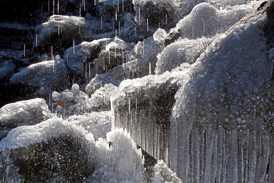 A waterfall in winter creates a very otherworldly look