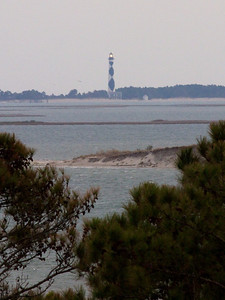 Cape Lookout Lighthouse from Tower at Core Sound Museum and Heritage Center on Harkers Island. Copyright 2011 Neil Stahl