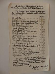 Wetherburn's Tavern Legal prices Copyright 2011 Neil Stahl