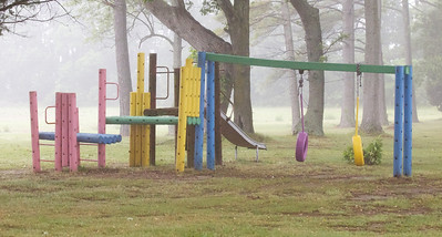 Foggy playground by our cabin  Copyright 2012 Neil Stahl