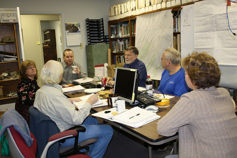 Paul Bugas, Sponsor, Mike Pelton, Steve Gibson, Nancy Owens, Jim Lawson and Betty Gatewood in planning session. (Taken by Carol Lawson)