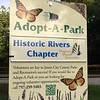 """Adopt-a-park sign acknowledging the Historic River Chapter's work at Powhatan Creek Park and Blueway.  The Historic Rivers Chapter has adopted this park and act as caretakers and stewards. This is one of many stewardship projects for our Chapter.  Our year-long contract with James City County Parks & Recreation asks us to do a litter pickup at least once a month.  This is another way we have found to help continue the joint efforts of  the county and our Chapter to """"Keep JCC Beautiful"""" and showcase the local parks.  The county notes our involvement by posting the adopting group with a sign for all visitors to notice.  Photo by Connie Reitz (VMN-Historic Rivers Chapter)"""