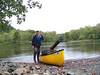 NRV chapter member, Brian Kreowski, with a canoe full of trash hauled from the New River near Foster Falls, 26 September 2009.