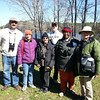 Sunday, April 6, 2014 - Cohort 7 trainees (L-R) Ben Dukes, Kelly Haulsee, Loye Spencer, Tim Blevins, Felicia Mason, and Hampton Roads Bird Club guide Jane Frigo enjoy a break for a photo op at the Newport News Park in Newport News, Virginia during a morning bird walk.  Today's count during the 3-hour walk was 61.